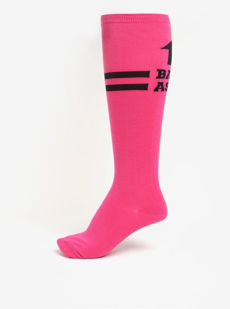 Sosete peste genunchi roz cu mesaj pentru femei- Sock It to Me Pink Badass