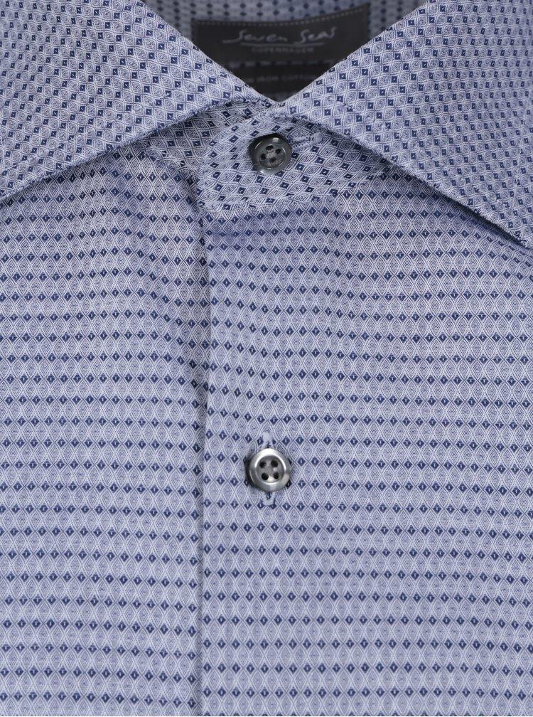 Camasa albastru deschis cu model geometric Seven Seas