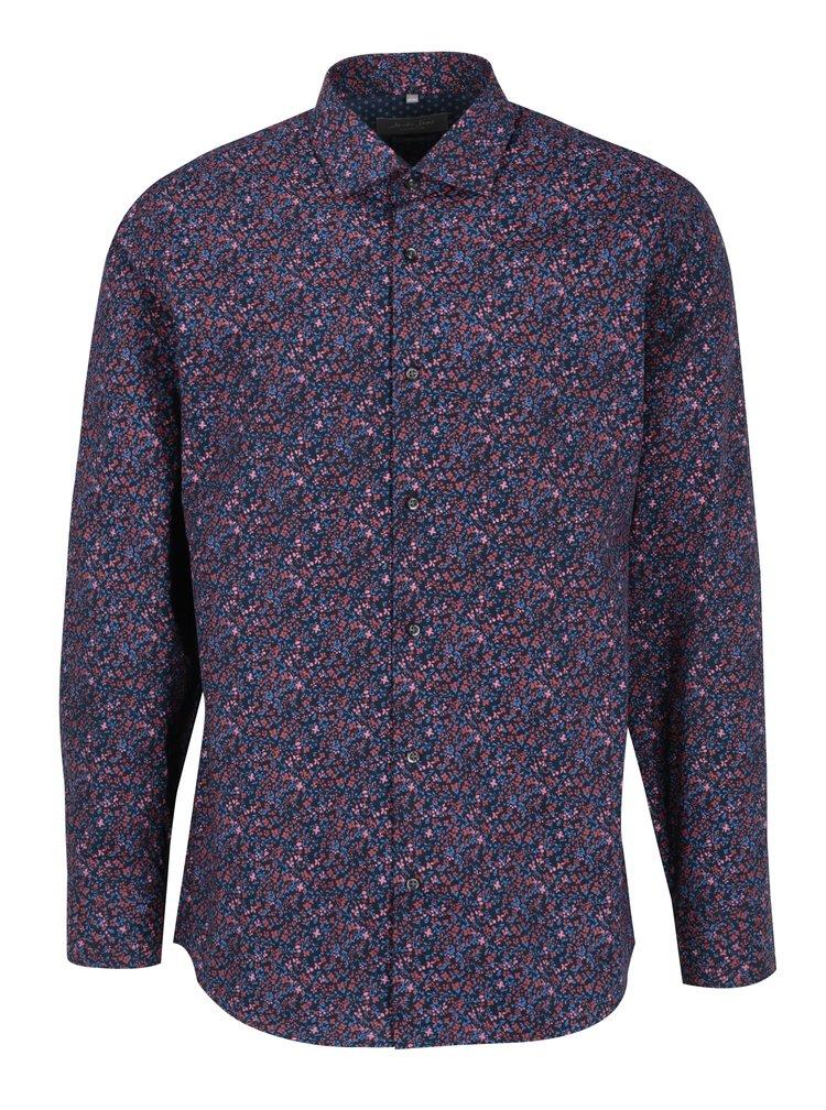 Červeno-modrá pánská květovaná formální košile Seven Seas Vermont