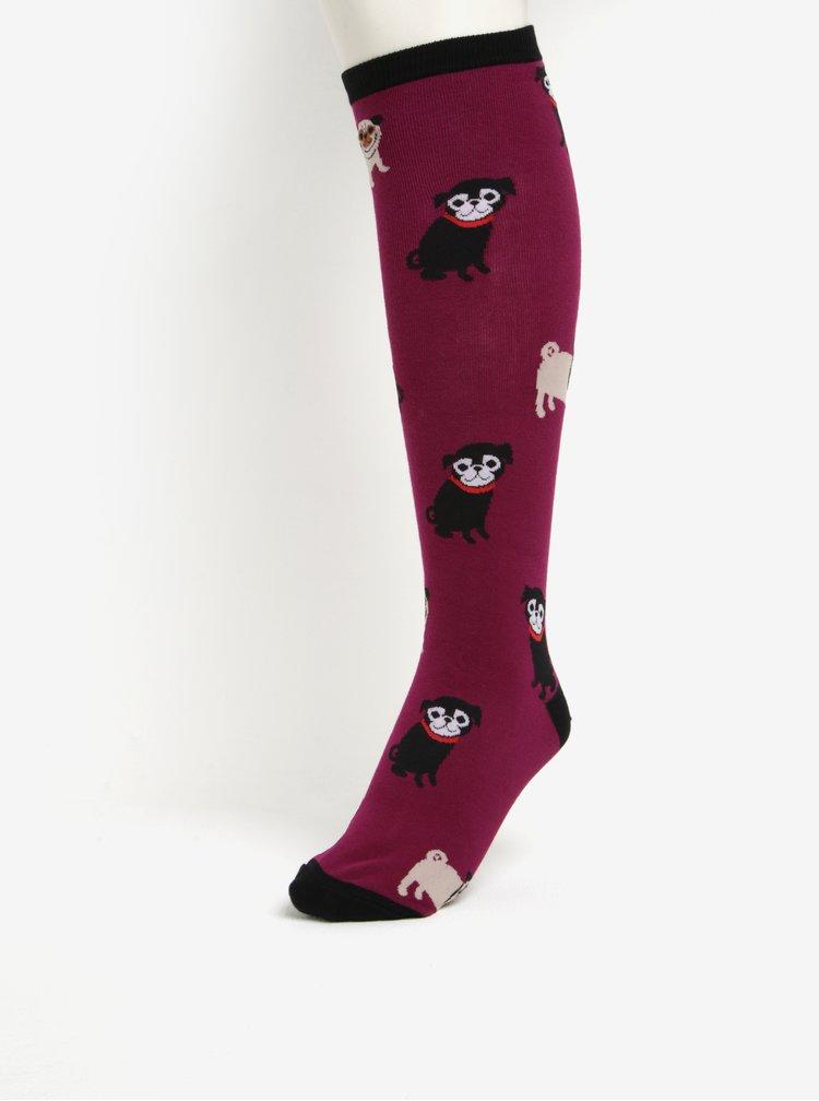 Sosete mov pana la genunchi cu print catelusi pentru femei - Sock It to Me Pug Life
