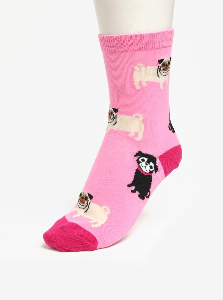 Sosete roz cu print catelusi pentru femei - Sock It to Me Pink Pugs