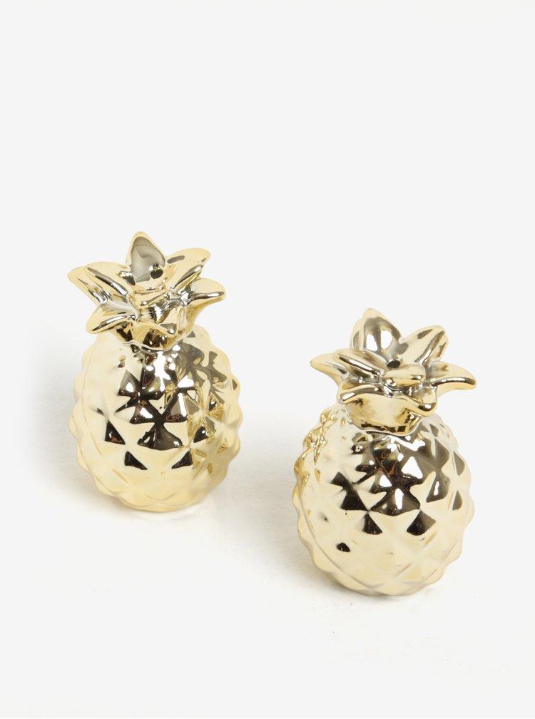 Recipiente aurii pentru sare si piper in forma de ananas - Sass & Belle