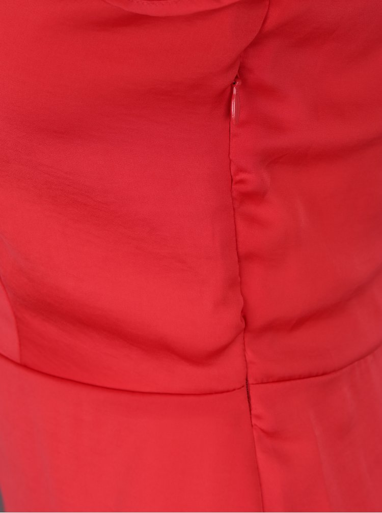 Rochie asimetrica rosie cu volane Miss Selfridge