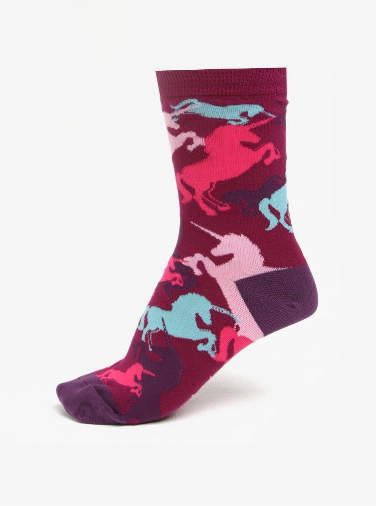 Růžovo-fialové dámské vzorované ponožky Sock It to Me Mythical Unicorns