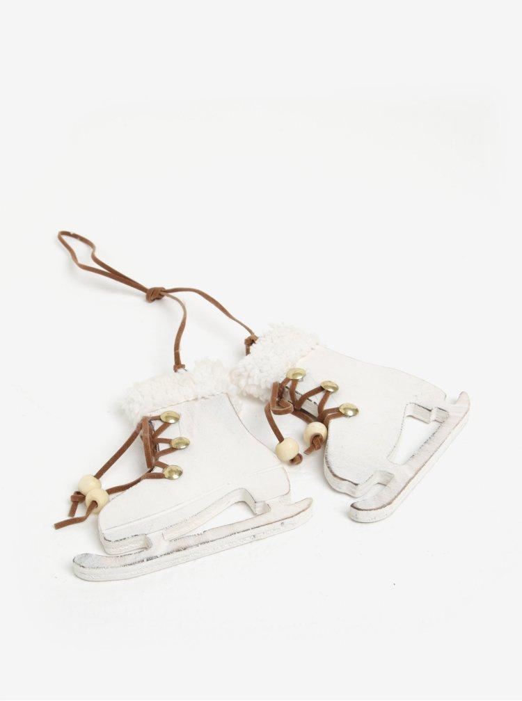 Biela drevená dekorácia v tvare korčúľ Sass & Belle