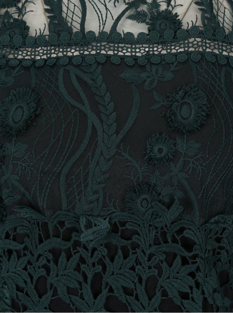 Tmavě zelené krajkové midišaty s dlouhým rukávem Miss Selfridge