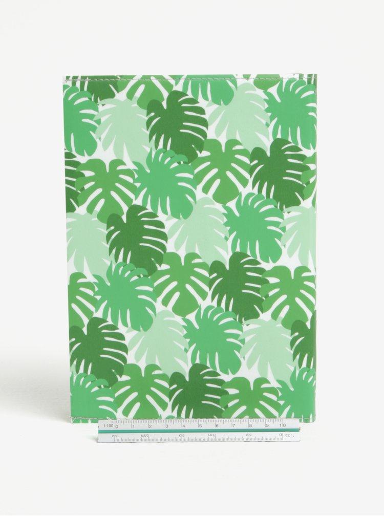 Zelený zápisník s motivem listů I Like Paper A5