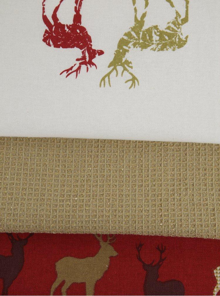 Súprava troch utierok v červenej, bielej a zlatej farbe Cooksmart
