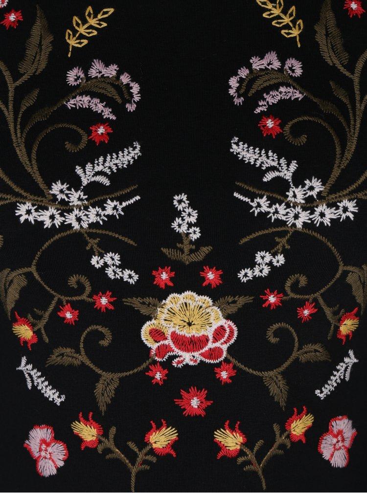 Body negru cu broderie florala Miss Selfridge