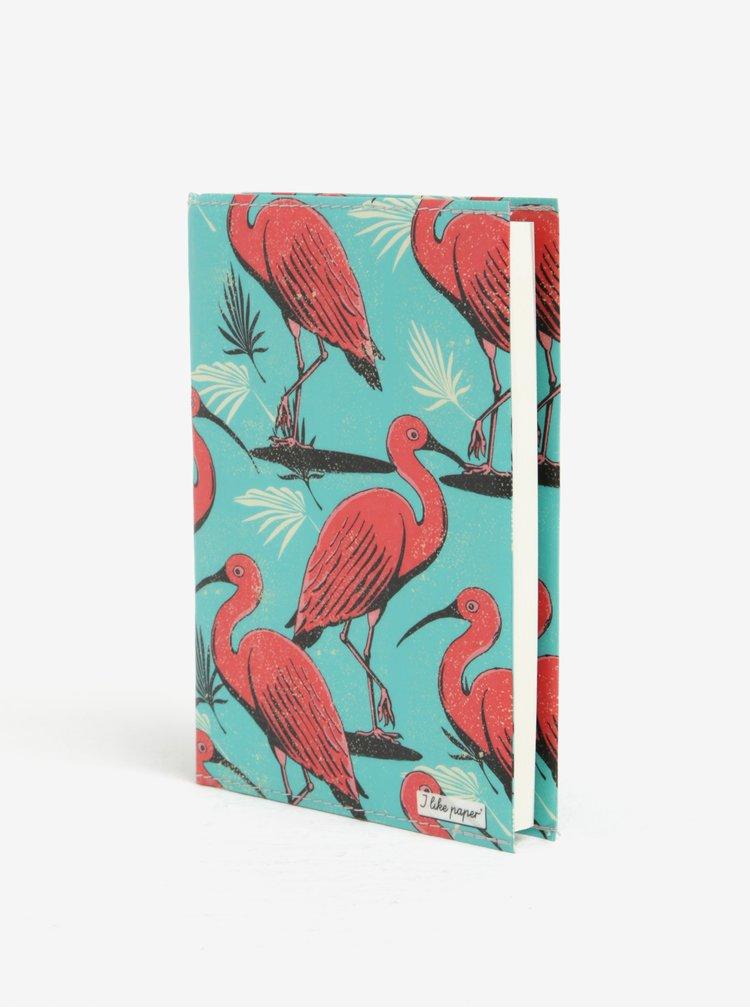 Růžovo-tyrkysový zápisník s motivem plameňáků I Like Paper A6