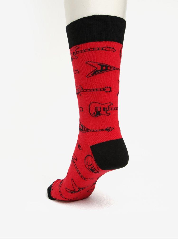 Červené pánske vzorované ponožky Sock It to Me String Theory