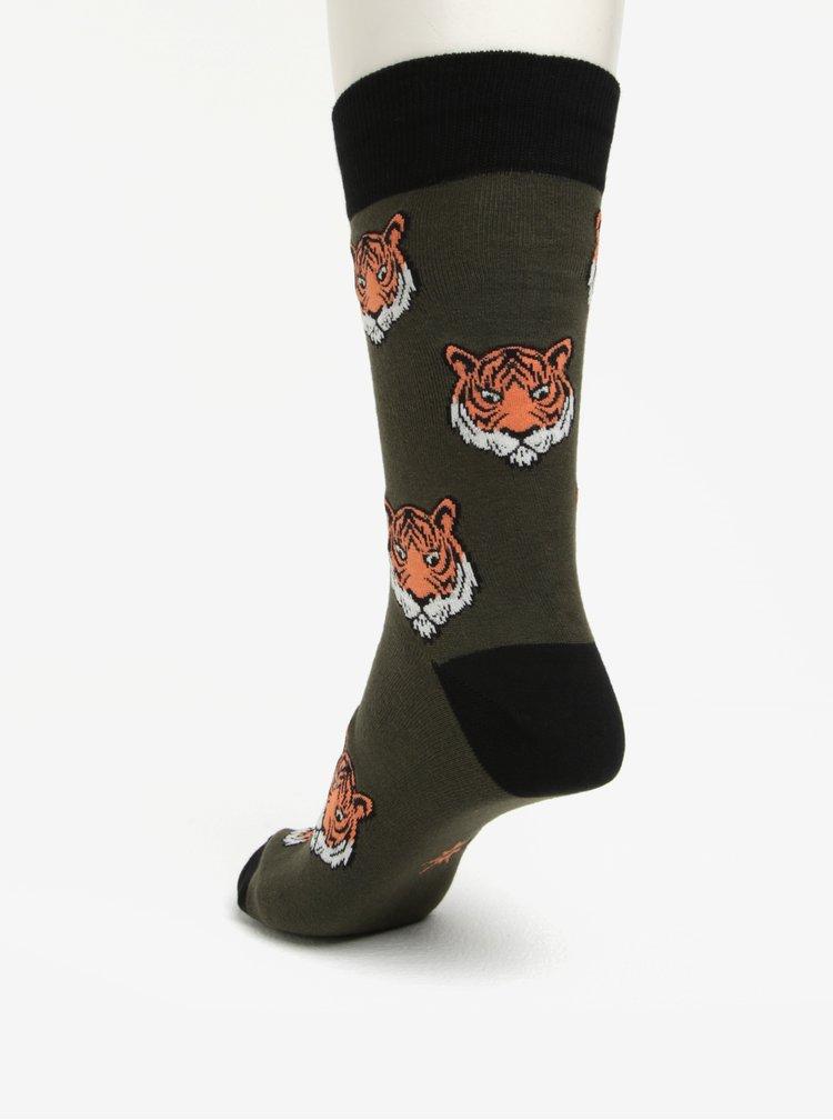 Sosete verde inchis cu print tigri pentru barbati -  Sock It to Me Fierce Feet