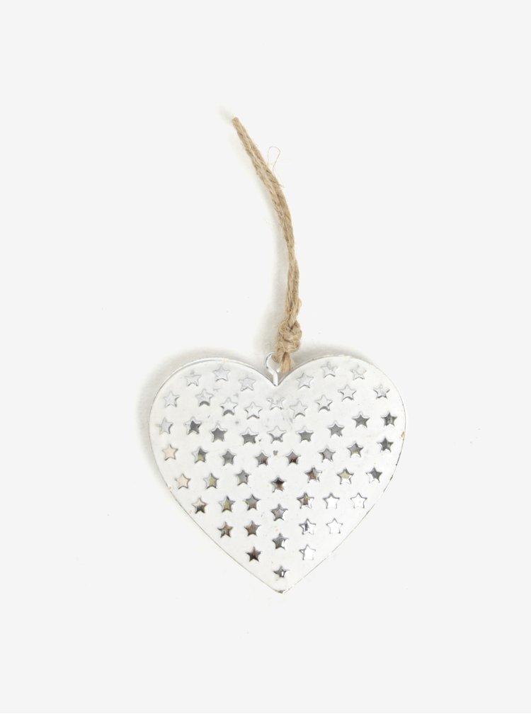 Bílá vánoční dekorace ve tvaru srdce Sass & Belle