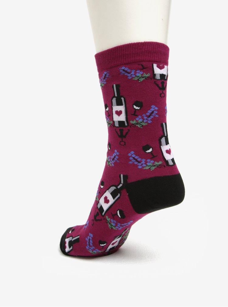 Sosete bordo cu print pentru femei - Sock It to Me Wine