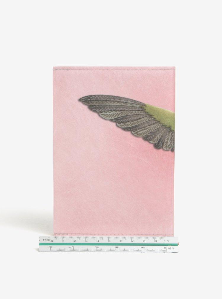 Carnetel A6 handmade roz cu print pasare - I Like Paper A6