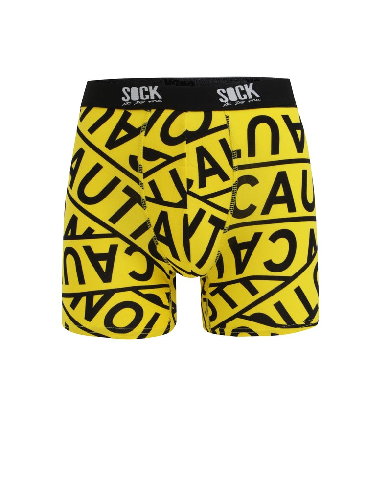 Boxeri galbeni cu print si talie elastica cu logo - Sock It to Me Caution Tape