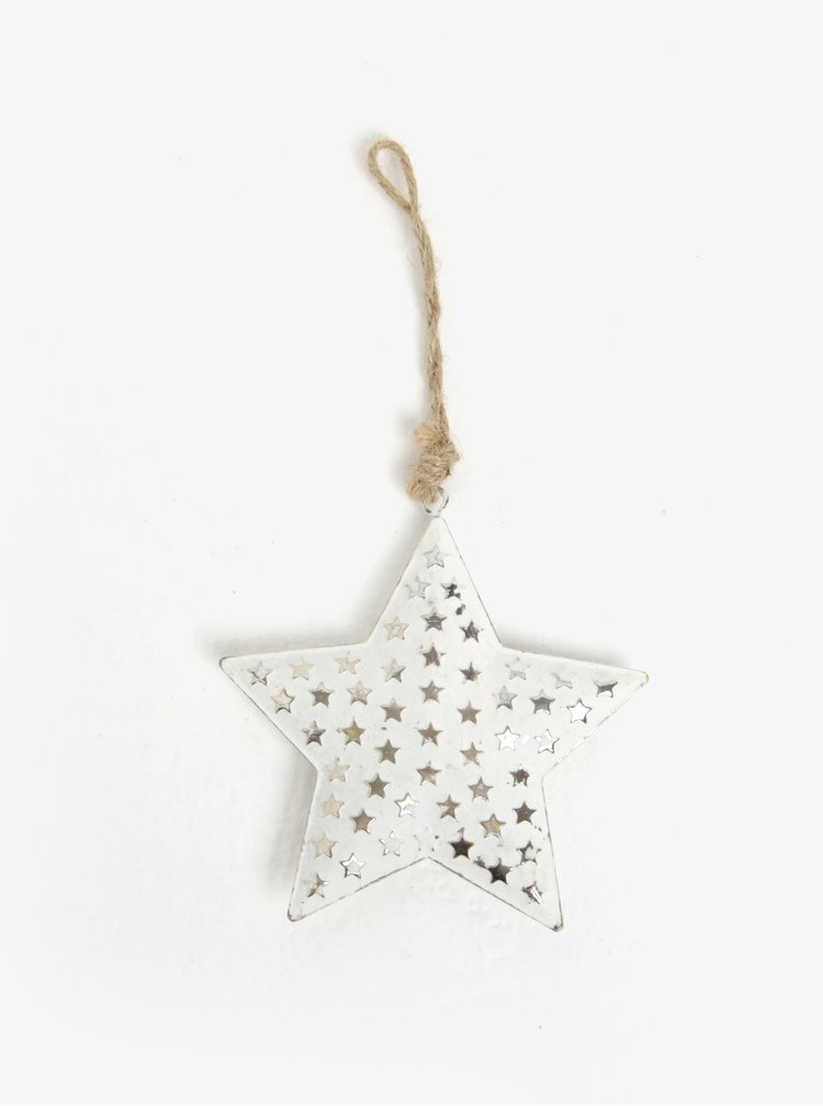 Bílá vánoční dekorace ve tvaru hvězdy Sass & Belle