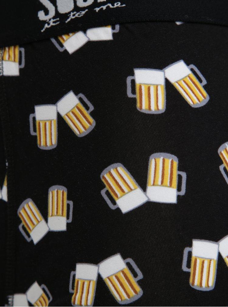 Černé vzorované boxerky Sock It to Me Cheers