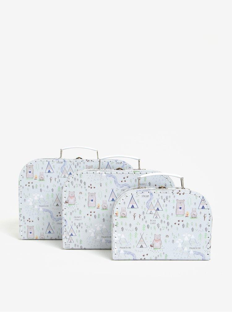 Set de 3 cutii de depozitare gri cu print - Sass & Belle