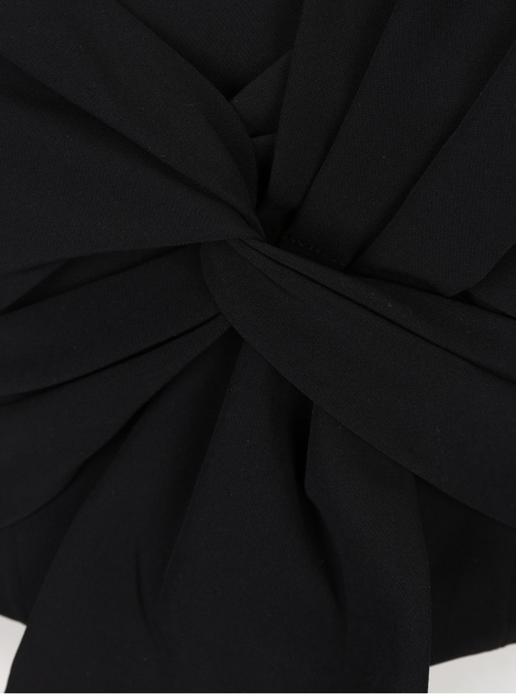 Černý crop top s mašlí Miss Selfridge