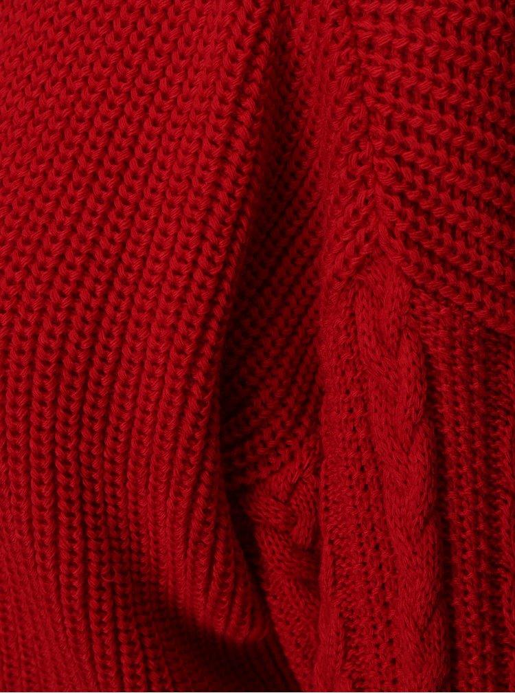 Červený žebrovaný crop svetr Miss Selfridge