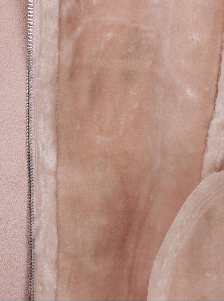 Starorůžový křivák s umělým kožíškem Miss Selfridge