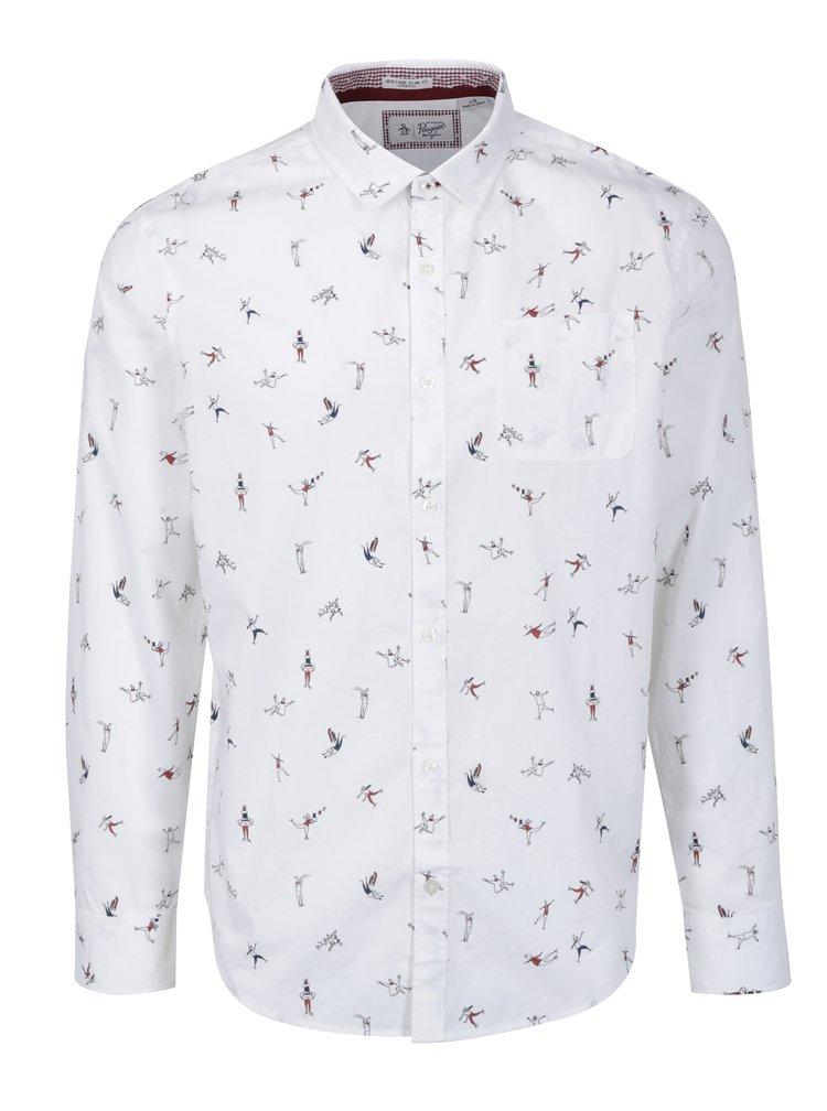 Bílá vzorovaná slim fit košile Original Penguin Mini Clumsy