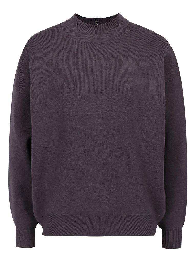 Fialový svetr se zipem na zádech Apricot