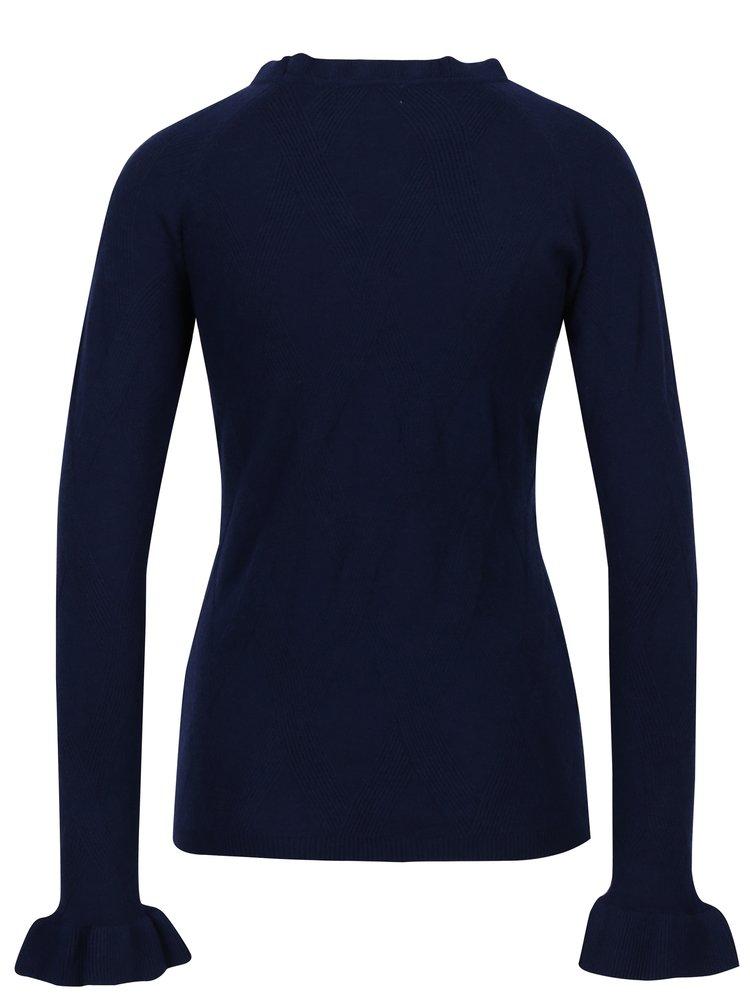 Tmavě modrý svetr s volány na rukávech Apricot