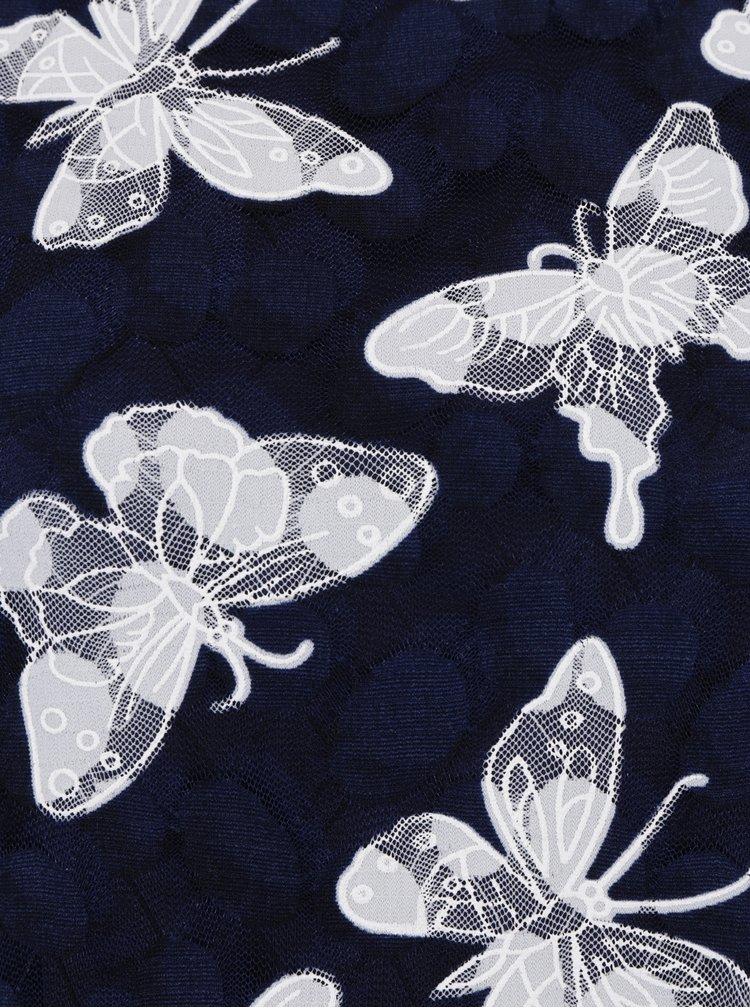 Tmavě modré minišaty s motivem motýlů Apricot