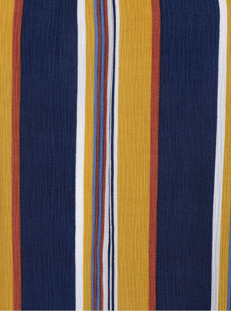 Žluto-modrá pruhovaná halenka s odhalenými rameny Apricot
