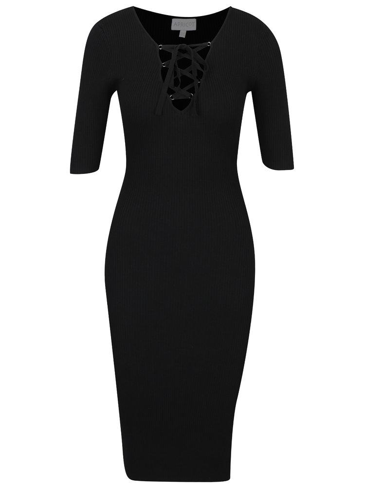 Černé svetrové šaty se šněrováním v dekoltu Apricot