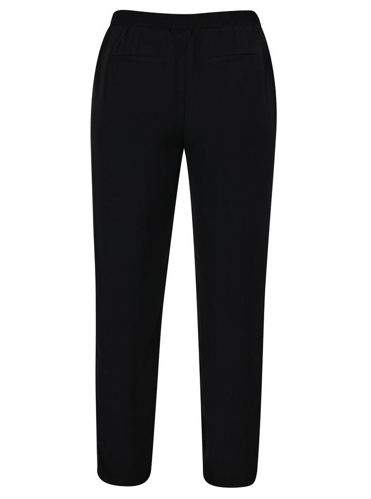 Černé volné kalhoty s vysokým pasem a pruhem na bocích VERO MODA Adrianne