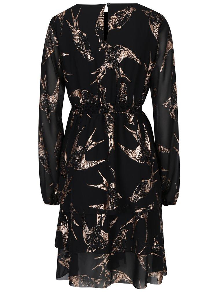 Černé kojicí šaty s potiskem Mama.licious Bird