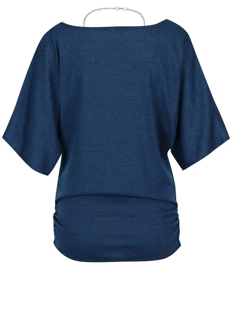 Tmavě modré žíhané tričko s řetízkem Apricot
