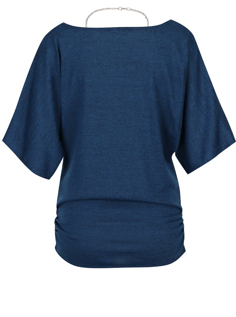 Bluza albastra cu maneci lejere si lant cu pandantiv - Apricot