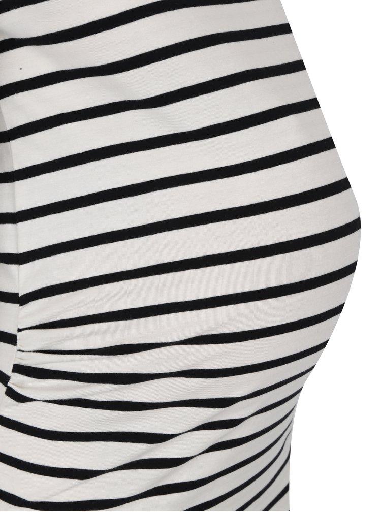 Krémovo-černé pruhované těhotenské tričko Mama.licious Alabama