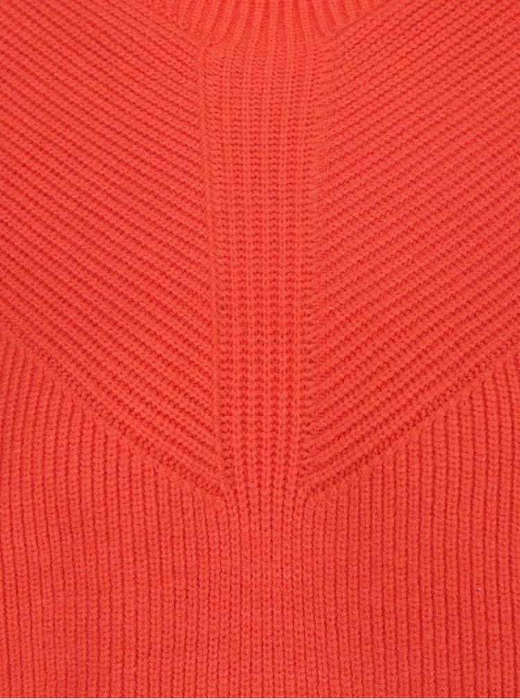 Oranžový svetr s balónovými rukávy VERO MODA Darcel
