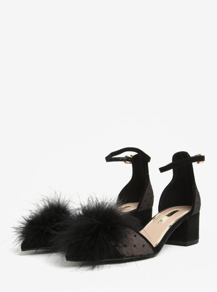 Černé puntíkované sandálky na podpatku s peřím na špičce Miss KG Eleri