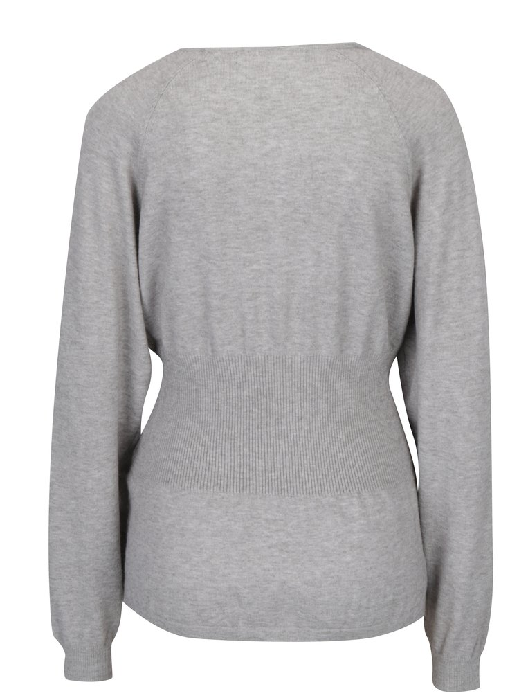 Světle šedý žíhaný svetr se šněrováním VERO MODA Oria