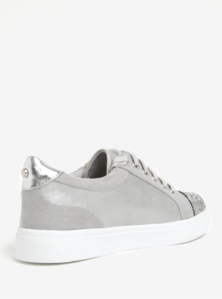 Stříbrno-šedé tenisky s třpytivou špičkou Miss KG Louie