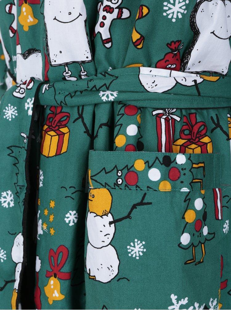 Zelený župan s vánočním motivem Lousy Livin Merry Merry