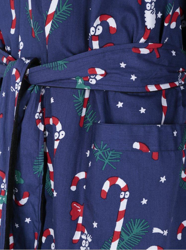 Tmavě modrý župan s vánočním motivem Lousy Livin Merry Merry