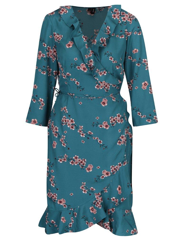 Zelené květované zavinovací šaty VERO MODA Henna