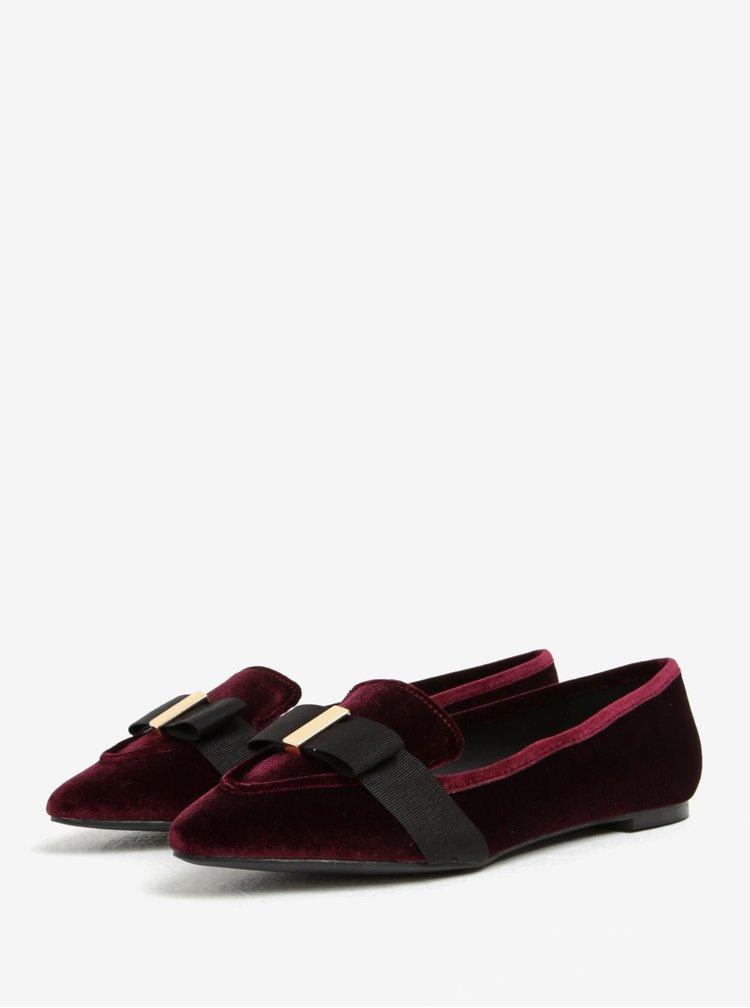 Pantofi loafers bordo din catifea cu funda neagra - Miss KG Larissa