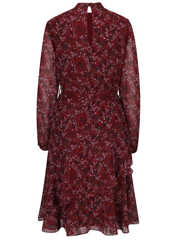 Vínové květované šaty s průsvitnými rukávy VERO MODA Camille