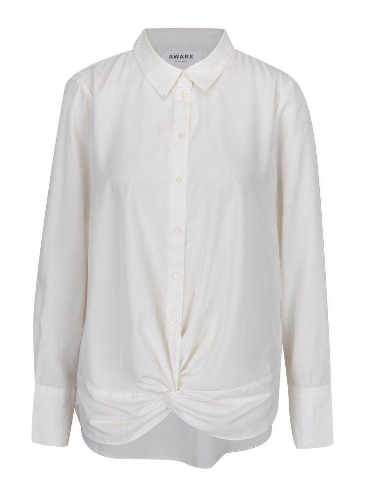 Krémová košile s uzlem v přední části VERO MODA Bind