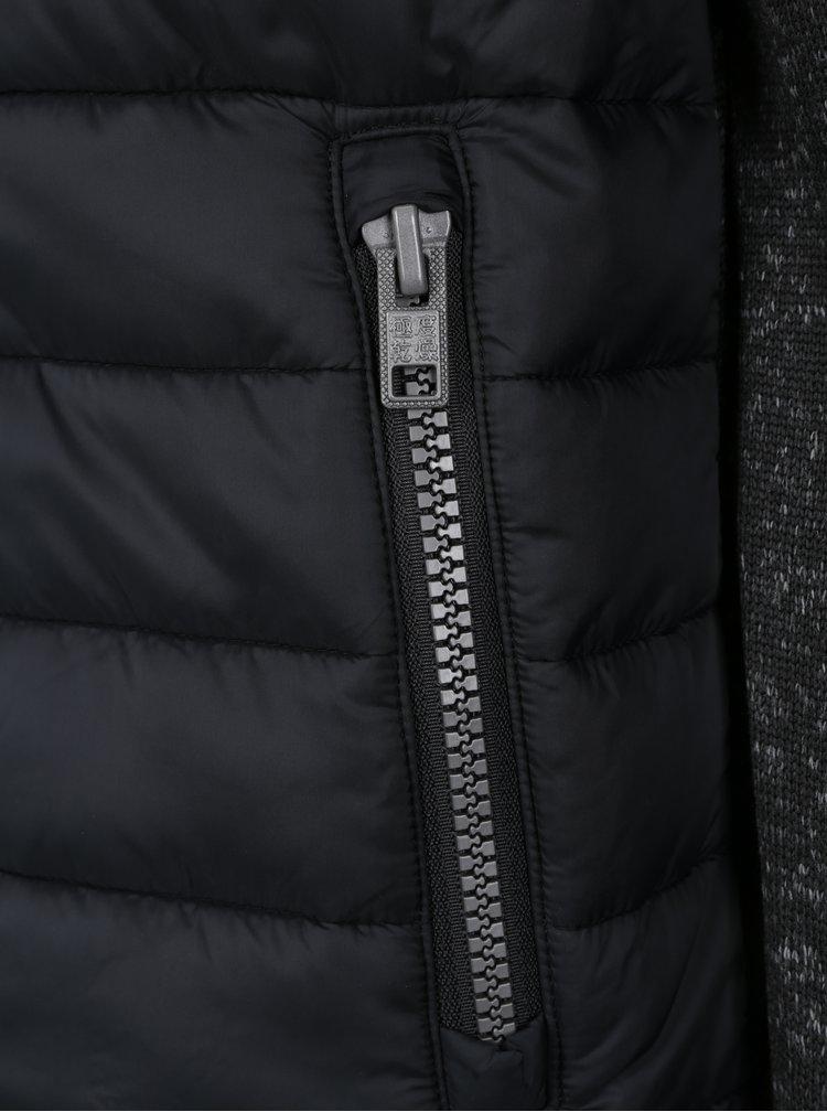 Černá pánská prošívaná bunda s mikinovými rukávy a zády Superdry Hybrid