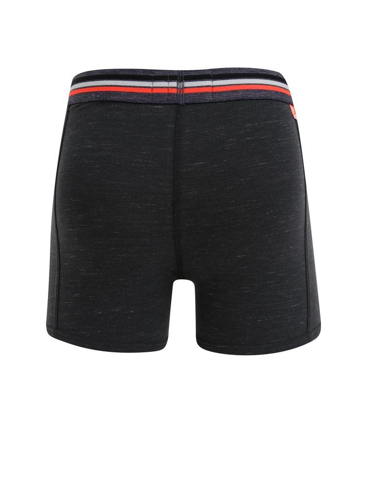 Set de 2 perechi de boxeri negri&bleumarin cu logo in talie - Superdry