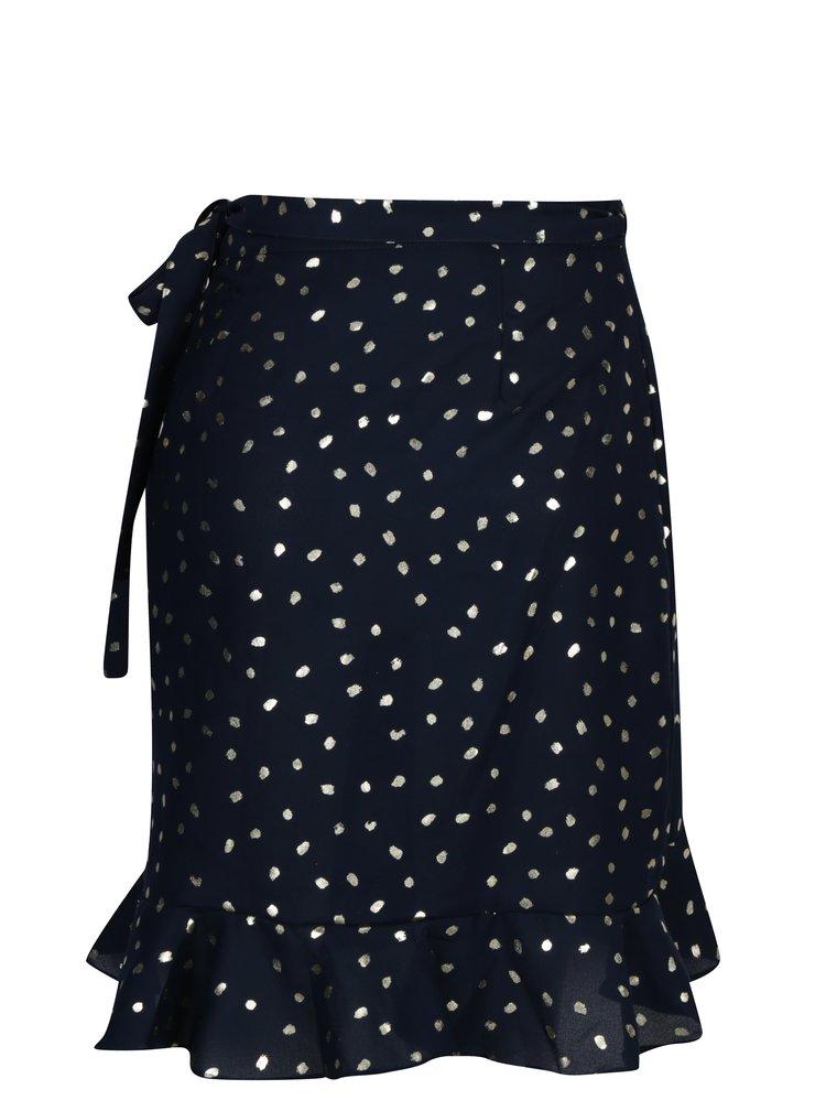 Tmavě modrá zavinovací sukně s potiskem VERO MODA Henna